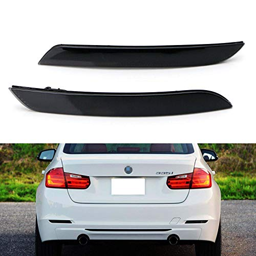iJDMTOY Smoked Lens Rear Bumper Reflector Lenses Compatible With 2013-2015 Pre-LCI BMW F30 F31 F32 F33 3 4 Series Regular Bumper, OE-Spec LH RH Assembly (Will NOT Fit GT GC, Sports Bumper or M3/M4)