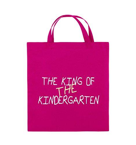 Comedy Bags - The King of The Kindergarten - Jutebeutel - Kurze Henkel - 38x42cm - Farbe: Pink/Weiss-Beige