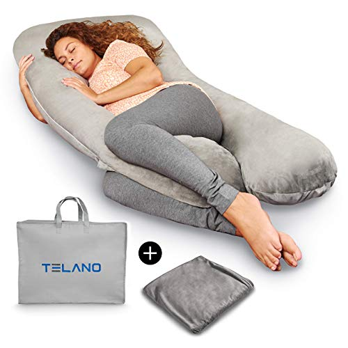 Telano Schwangerschaftskissen Premium XXL Samt Kissen 145x80cm - Extra Bezug und Tasche - 2,3kg Fuüllung 15D Polyester - Stillkissen - Grau