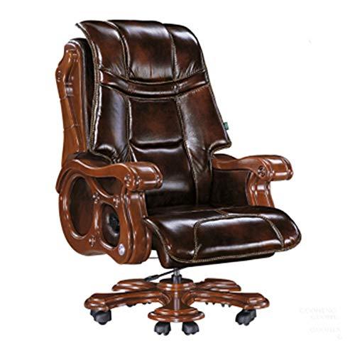 Kantoorstoel, massief hout ergonomische stoel, president, bureaustoel, lederen executive stoel, effectieve verlichting van de menselijke druk, gemakkelijk te reinigen-A