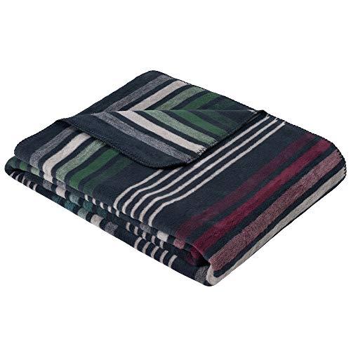 Ibena Stockton Kuscheldecke 150x200 cm - gestreifte Decke dunkelblau, Pflegeleichte und kuschelweiche Baumwollmischung