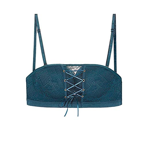 34-40 Ultimate Backless Bra Drawstring Push Up Wire Free Bra Lace Strapless Invisible Underwear Plus Size Bra for Women (40C/D, Dark Green)