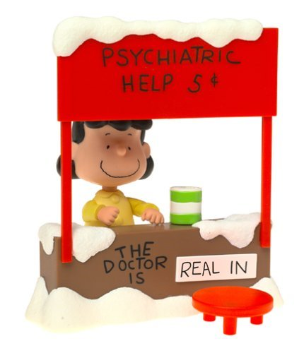 Charlie Brown Christmas Peanuts Lucy Van Pelt with Psychiatric Mood Booth Playset - The Doctor is in! A
