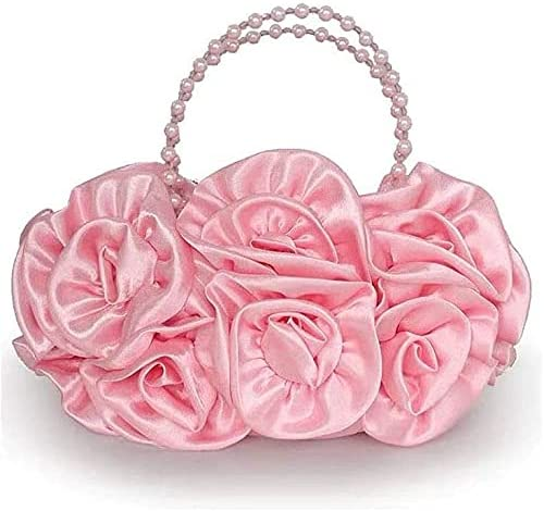 Women's Evening Handbags Evening Bag Beaded Hand Bag, Rose Flower Banquet Bag, Bride Bag (Color : Pink)