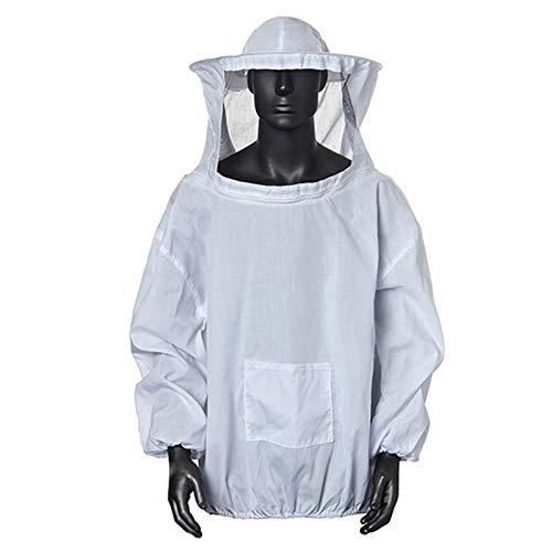 Amacoam Protettivo Apicoltura Tuta Tuta da Apicoltore Apicoltura Cappotto Giacca Anti-Ape Professionale, Tuta di Protezione con Cappello e Velo per Gli Apicoltori, Bianco