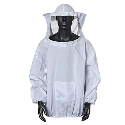 Amacoam® Imkerjacke Imkerjacke mit Hut Professional Imkerbekleidung Imker Bienenzüchter Professionelle Imker Bienenschutz Hut Bienenanzug mit Reißverschluss für Bienenzüchter Bee Keepers (Weiß)