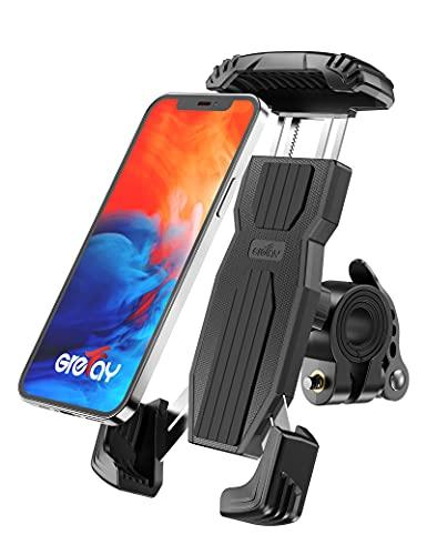 Grefay Fahrrad Handyhalterung, Anti-Shake Schnellspanner Edelstahl Universal Motorrad Handyhalter für Rennrad MTB Scooter Mit 360 Drehen für 4.7-6.9 Zoll Smartphone