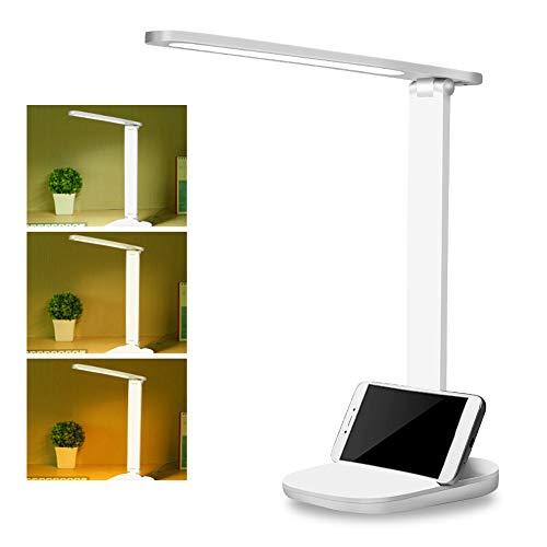 LED Schreibtischlampe, Dimmbare Schreibtischlampen mit USB-Ladeanschluss, Dimmbar Tischleuchte mit Touchbedienung, Tragbar, Augenschutz für Büro, Lesen, Studieren, Energieeffiziente Leselicht