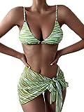 MakeMeChic Women's 3 Piece Swimsuit Zebra Striped String Triangle Bikini Set with Sarongs Cover Up Beach Skirt Green S