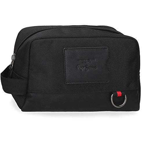 Pepe Jeans Counter Neceser Adaptable Negro 25x15x12 cms Poliéster y PU