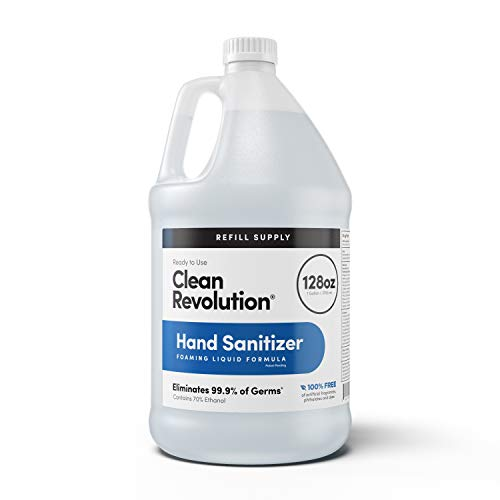 Clean Revolution Hand Sanitizer Refill Supply | Moisturizing & Quick-Dry | Kills 99.9% Germs | 70% Alcohol | Ready To Use | Unscented | 128 Oz (1 Gallon)