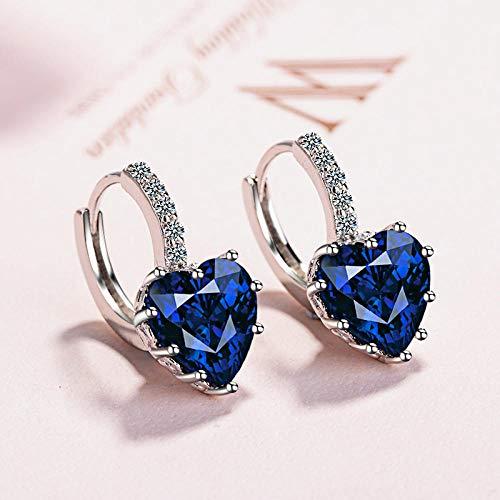 Pendientes Mujer Joyería Simple De Moda Pendientes De Plata De Ley 925 Pendientes En Forma De Corazón para Mujer-Dark_Blue
