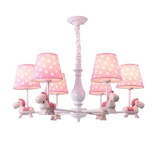 Moderno Industrial Lámparas De Araña,Nórdico Sputnik E26 Lámpara Colgante,Rosa Troyano Iluminación Colgante,Con SOMBRA DE TELA,Para Sala De Estar Dormitorio Loft 6 Luces