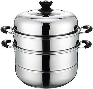 XIN Cocina Olla Vapor Vaporera Pan Vapor for cocinar Conjunto de 3 gradas Vapor del Acero Inoxidable Olla inducción Cocina de Gas Universal Stock Pot 30cm