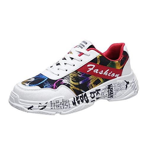 Laufschuhe Herren Leichte Schuhe Mode Graffiti Sportschuhe Outdoorschuhe Damen Herren Wanderhalbschuhe Freizeitschuhe Fitnessschuhe Atmungsaktiv Rutschfeste Straßenlaufschuhe 39-44 (39 EU, Rot)