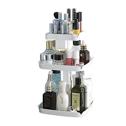 QUBABO Make-up Organizer 360 graden Rotatie 3 lagen Cosmetische opbergdoos voor crèmes, Toner, Make-up Borstels, Lipsticks, Wenkbrauw Potlood