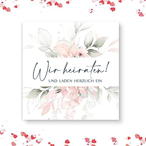 20 Stück Hochzeitseinladungen Einladungskarten Klappkarten Hochzeit Boho Quadratisch 14,8 x 14,8 cm mit Umschlägen