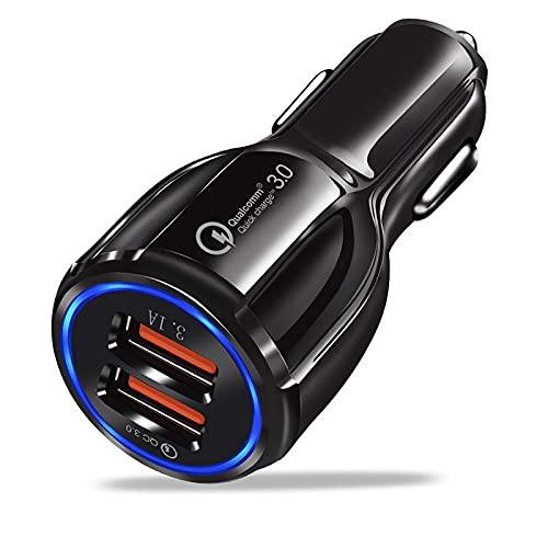 Davilis Caricatore USB da Auto 5V 6A Universale Quick Charge 3.0 Veloce Caricabatterie Alimentatore Presa USB 2 Porte, Spina per Smartphone Tablet iOS Android