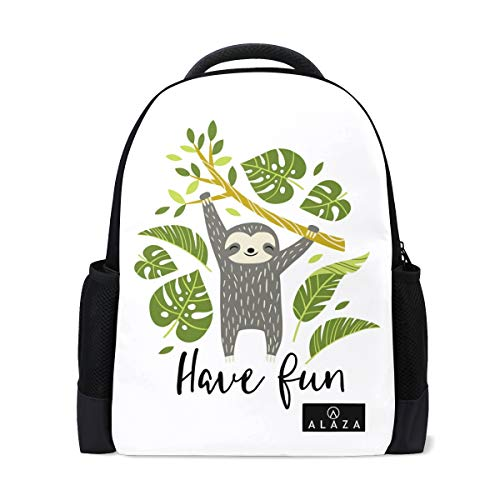 Sloth Palm Leaves Backpack 14 Inch Laptop Daypack Bookbag for Travel College School