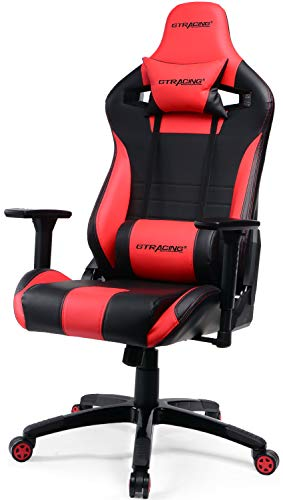 GTracing Gaming Chair Racing Style Recliner Seat Height Adjustment Computer Office Chair with Pillows GTF83 (Red)