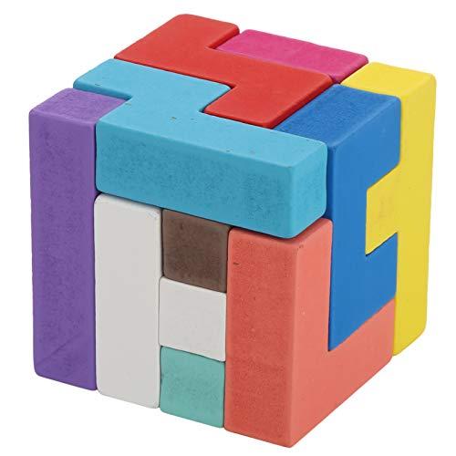 Juguete de madera del bloque del rompecabezas, juguetes de madera del juguete del rompecabezas del bebé que juega los juguetes de la construcción del(cube puzzle building blocks)