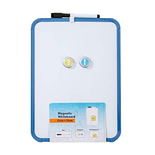 Pizarra blanca DumanAsen borrado en seco para escuela, hogar, oficina, aprendizaje remoto (azul, 25 cm x 35...