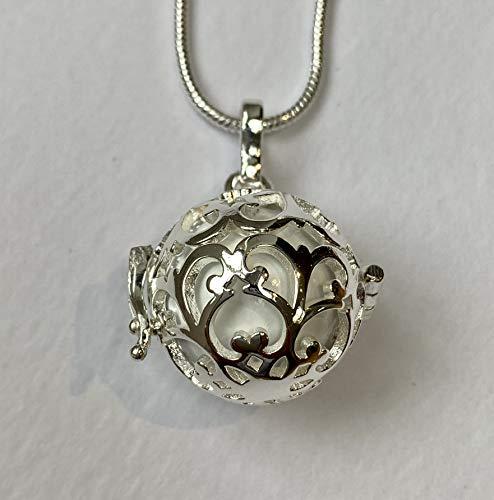 Silver rund spetsbur med vit bola l harmoni boll halsband kit l mexikansk bola l en härlig graviditetspresent