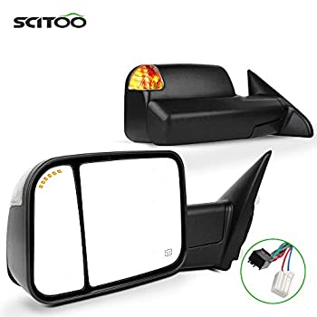 SCITOO Compatible fit for Dodge Towing Mirrors Black Rear View Mirrors 2009-2017 for Ram 1500 2010-2017 for Ram 2500 3500 Arrow Turn Signal Side Marker Light Power Control Heated Puddle Light