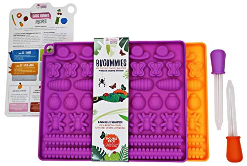 DIY Assorted BUGUMMIES Mold by Mister Gummy | PREMIUM Silicone | Gummy Bugs, Chocolates, Ice Cubes, Candy | 2 Bug Molds + 2 Droppers + Recipe Card + Reusable Zip Lock Bag (DOUBLE PACK)