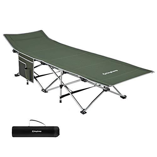KingCamp Feldbett mit Seitentasche Ultraleicht Campingbett Klappbett Indoor Outdoor bis 120 kg belastbar für Camping Strand Reisen Klettern