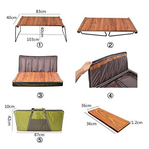 41UmtAg1QJL - Klappbarer Camping-Tisch Tragbarer Picknicktisch Ebenholz Kombinierter Multifunktions-Klapptisch mit Aufbewahrungstasche für Catering Camping Trestle Picknickgarten Patio BBQ Party Lili