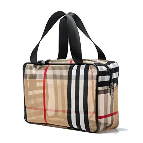 CheeseandU PVC Stripe Cosmetic Bag Waterproof Zipper Makeup Bag Multifunctional Large Capacity Mesh Bathroom Travel Storage Portable Bag Easy to Organize for Women Girl Khaki