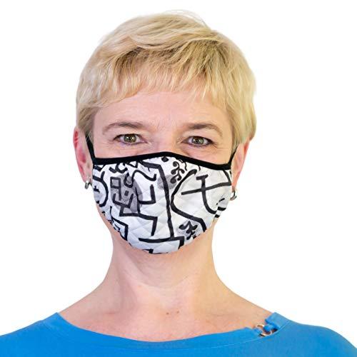 charakterperle | Masken mit Motiv | Klee´s Reicher Hafen | Qualitativ hochwertig | Geschenk für Kunstliebhaber | Größe L | Komfortable Stepp-Maske
