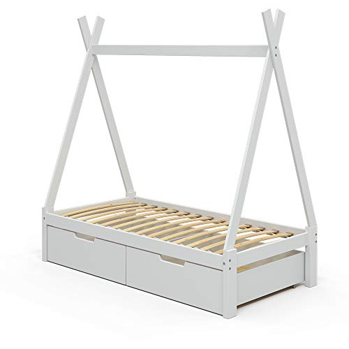 VitaliSpa Kinderbett Tipibett Umbaubett Indianerbett Hausbett (Weiß + Schubladen, 80x160cm)