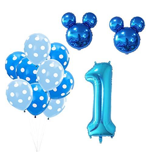 Amycute 13 pcs Globos de cumpleaños 1 año, Decoración Fiesta de Cumpleaños Mickey Minnie Numero 1 Globo de Papel de Aluminio y Globo de Latex Negro Azul para Happy Birthday Niños de 1 año