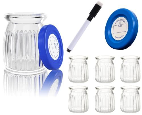 Homaxess   6 botes de cristal de Yogurt   Rotulador borrable   Compatible con cualquier Yogurtera   Fecha en las Tapas   Capacidad 150 ml   BPA free   Embalaje sin plástico