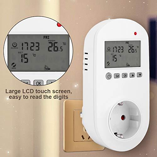 EFFACER Controlador de Temperatura, termostato de calefacción Digital de Enchufe, Enchufe de la UE 200-240 V 6 configuración programable fácil de operar para Comercial Industrial