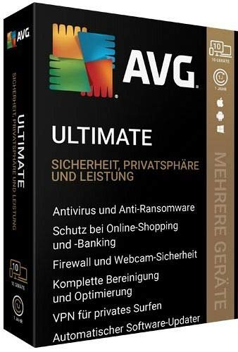 AVG Ultimate, 10 Geräte, 1 Jahr, 1 DVD-ROM