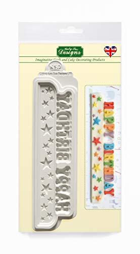 Happy Birthday Stars Banner siliconen mal voor taartdecoratie, ambachten, cupcakes, suikerwerk, snoepjes, kaarten en klei, voedselveilig goedgekeurd, gemaakt in het Verenigd Koninkrijk
