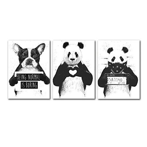 Panda Dog Animal Print Wall Art Poster Pintura en Lienzo en Blanco y Negro Cuadros de Pared Modernos Nursery Baby Kids Room Decoración 50x72cmx3 sin Marco