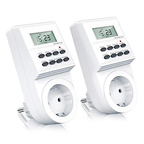 CSL-Computer 2X Digitale Zeitschaltuhr - Weekly Digital Timer - minutengenau - LCD-Display - 3680W - 8 konfigurierbare Schaltprogramme Wochen Tages und Minutenprogramm - Zufallsschaltung - IP20
