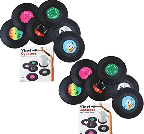 de 12 Posavasos personalizables para bebidas, diseño retro de discos de CD, vinilo antideslizante, para café, té, cerveza, vino, casa y bar, bebidas, etc.