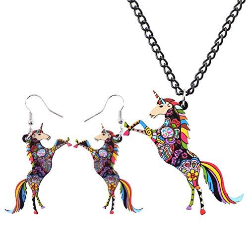 Jskdzfy Pendientes de caballo de acrílico con diseño floral y collar para mujeres, niñas, accesorios de regalo para adolescentes (color: A)