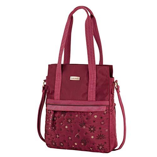 Lois - Bolso Shopping para Mujer con Doble Asa de Mano y Bandolera Ajustable. Fabricado con Eco-Piel y Nylon. Bordados Florales. 308732, Color Granate