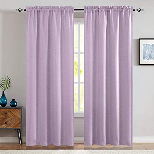 jinchan Room Darkening Curtains for Bedroom Living Room Thermal Insulated Linen Textured Window Treatment 2 Panels 84 inch Lilac