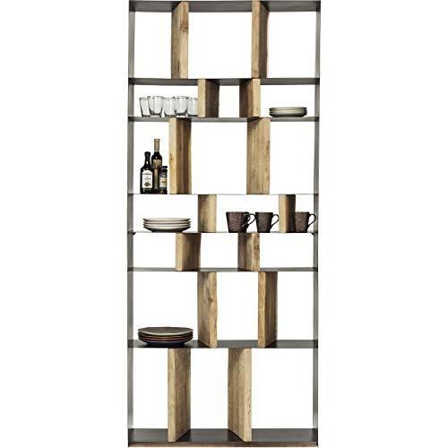 Kare Design Regal Storm, Regal aus Stahl mit Regalwänden aus Holz, Bücherregal, modernes, offenes Regal, kunstvolles Regal,  (H/B/T) 234x100x30cm