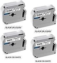 Compatible Ptouch M Tape 12mm 0.47 inch MK231 MK131 Label Tape Compatible with Brother P Touch Label Maker PT-M95 PT-65 PT-85 PT-45 12mm x 8m 4-Pack