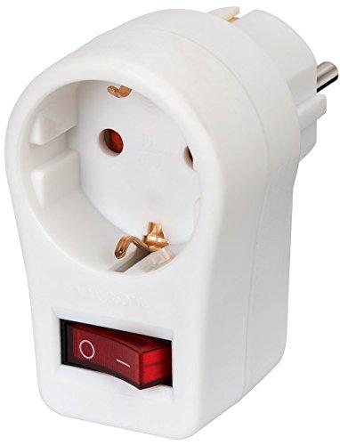 6er Pack Brennenstuhl Steckdosenadapter, Schutzkontaktsteckdose mit Schalter (Ideal zum Stromsparen, inkl. Kindersicherung) Farbe: weiß