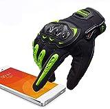 ARTOP Guantes Moto Verano Anti-Deslizante Anti-Colisión con Dedo Táctil Muy Buena Protección para Hombres(Verde,XL)
