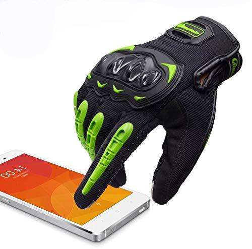 ARTOP Guantes Moto Anti-Deslizante Anti-Colisión con Dedo Táctil Muy Buena Protección para Hombres(Verde,M)